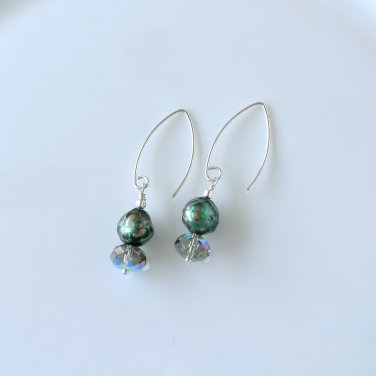 Swarovski Crystals and Faceted Freshwater Pearls Sterling Silver Earrings