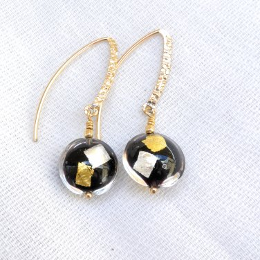 Genuine Murano (Italy) Glass Earrings Gold Filled Handmade