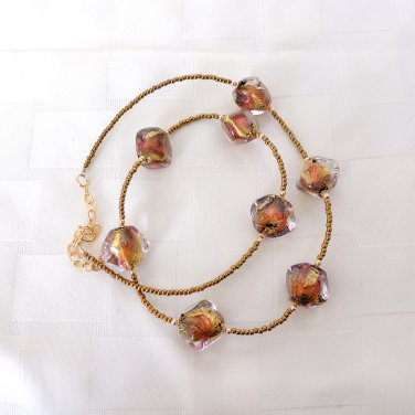 OOAK Genuine Murano Glass Gold Filled Necklace