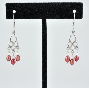 Burgundy Freshwater Pearls Sterling Silver Leverback Earrings