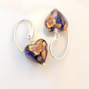 Genuine Murano (Italy) Glass Earrings Sterling Silver Handmade