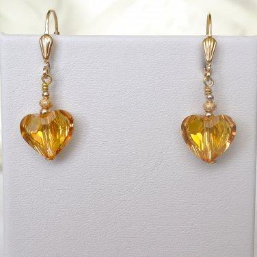 Swarovski Crystals Gold Filled Leverback Earrings