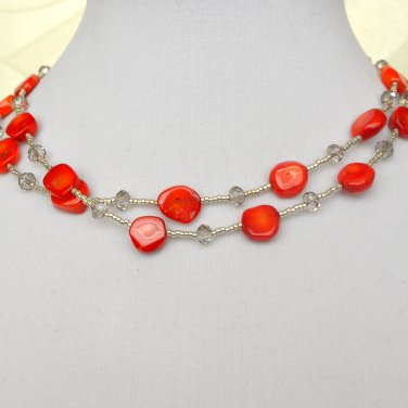 Red Coral Crystals Long Necklace
