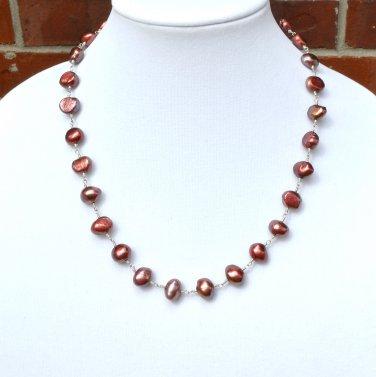 OOAK  Freshwater Pearls Sterling Silver Necklace Earring Set