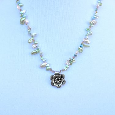 OOAK Keshi Pearls with Swarivski Crystals Necklace and Sterling Silver Flower Pendant