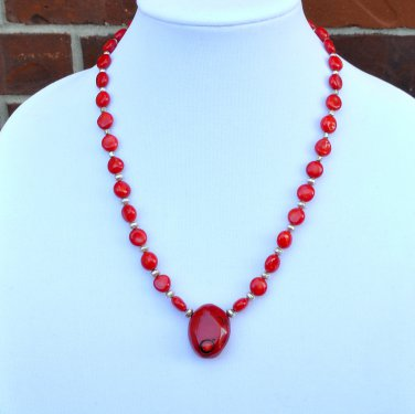 Red Coral and Sterling Silver Necklace