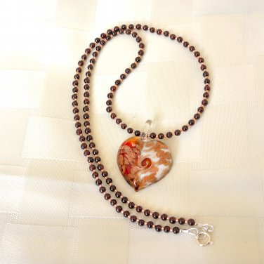 Murano Glass and Garnet Sterling Silver Necklace/Pendant
