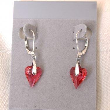 Swarovski Crystals Sterling Silver Leverback Earrings