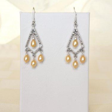 Freshwater Pearl Chandelier Sterling Silver Earrings