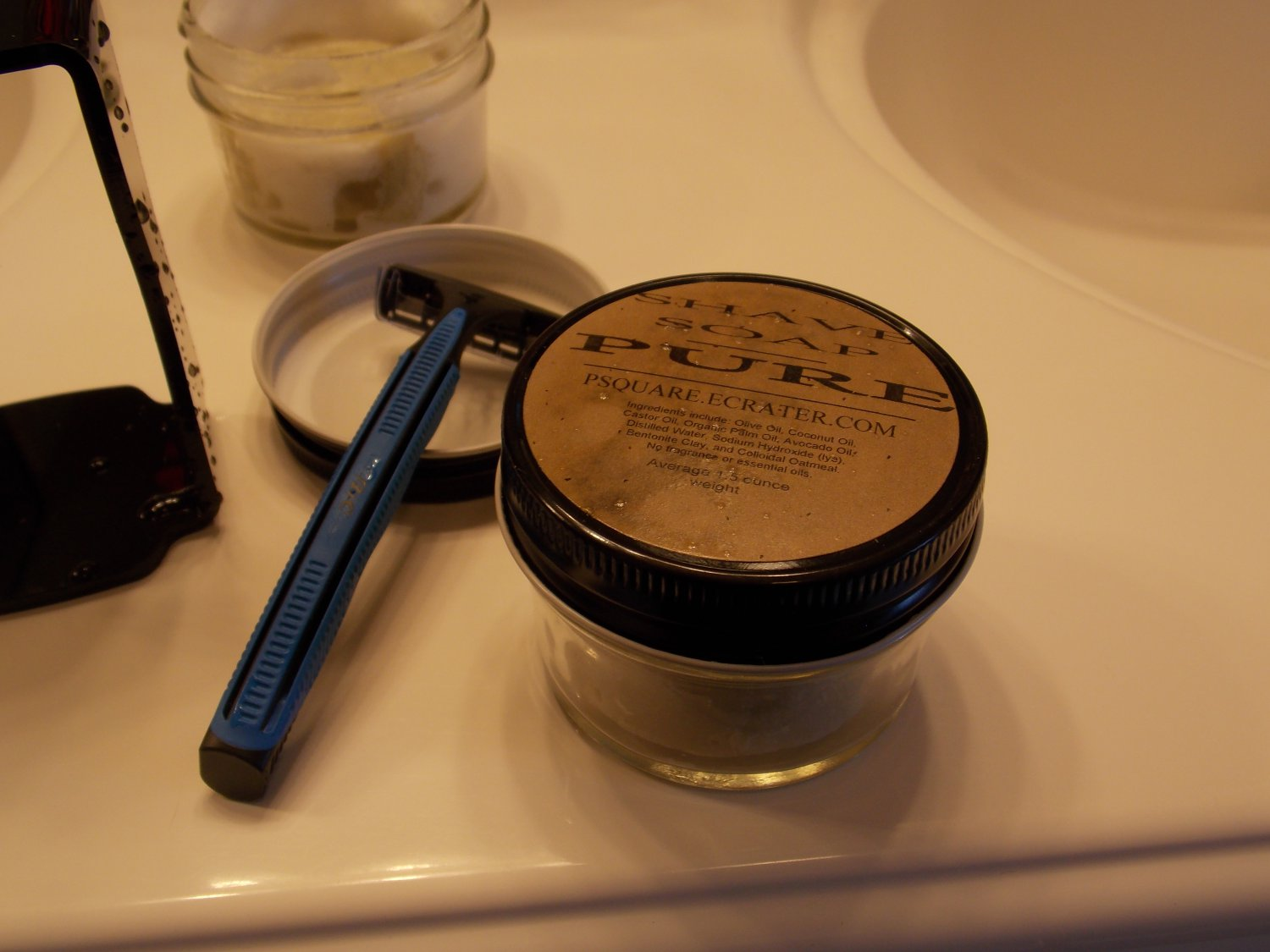 1 - PURE & NATURAL SHAVE SOAP AND GLASS SHAVE JAR