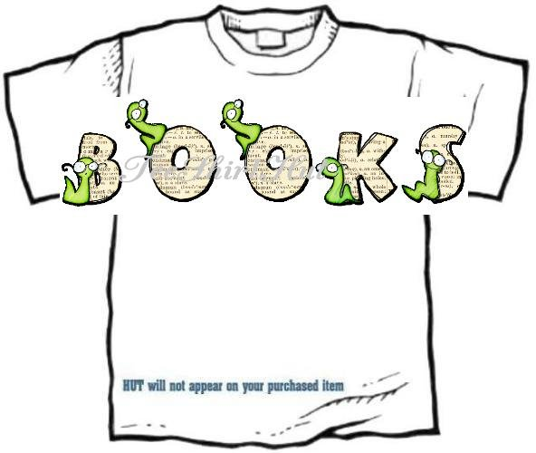 T-Shirt, Your Name in BOOK WORMS, reading - (youth & Adult Sm - xLg)