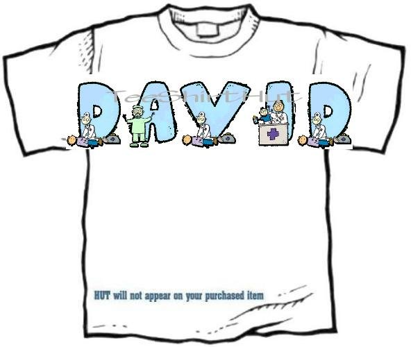 T-shirt, Your NAME in DOCTOR, male nurse, medical ER - (youth & Adult Sm - xLg)