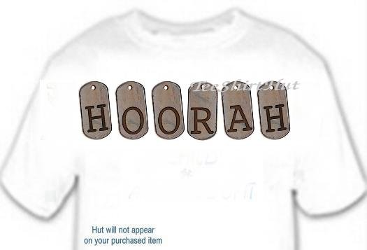 T-shirt, Your Name in DOG TAGS, Hoorah - (Adult 4xLg - 5xLg)