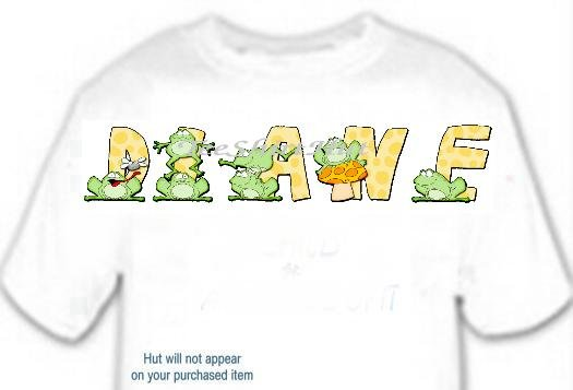 T-shirt, Your in Name in FROGS, leap jump mushroom - (youth & Adult Sm - xLg)