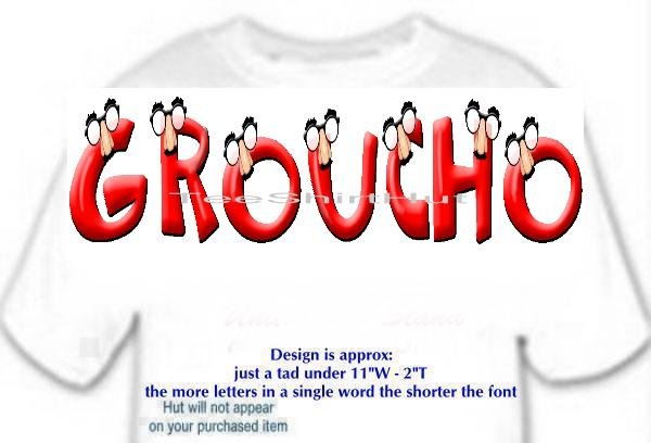 T-shirt, YOUR NAME in GROUCHO, glasses, nose - (Adult 4xLg - 5xLg)
