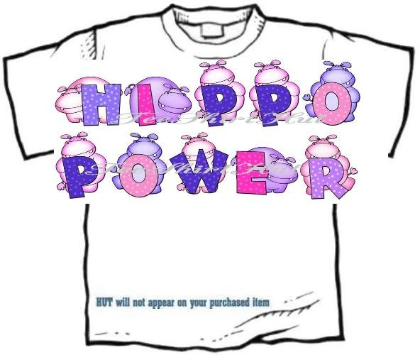 T-shirt Your Name in PURPLE HIPPOS, Hippo Power - (Adult xxLg)