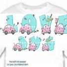 T-shirt YOUR NAME in LOVE BUGS pink, hearts lovers lane - (Adult xxLg)