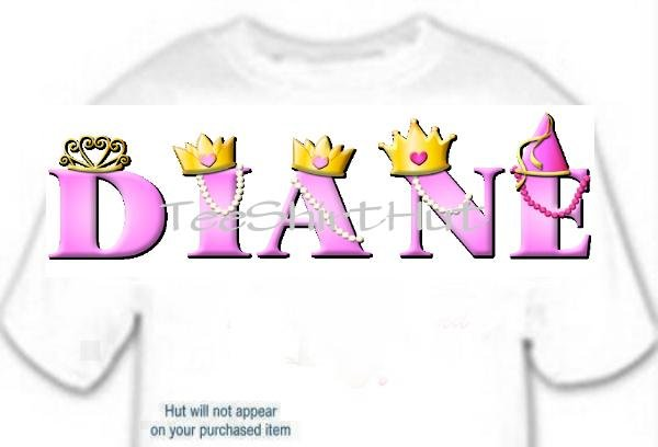 T-shirt Your Name in PRINCESS crowns - (adult Xxlg)