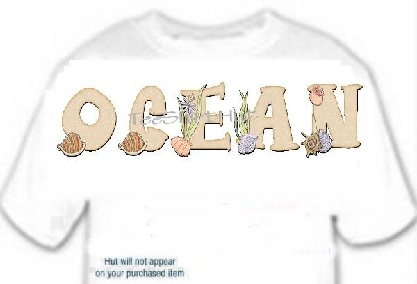 T-Shirt, Your Name in SEA SHELLS, corel conch seaweed  - (adult Xxlg)