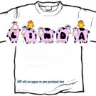 T-shirt, Your Name in PINK HAPPY HEIFERS, pinks cows, chickens - (youth & Adult Sm - xLg)