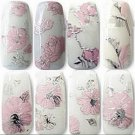 New Elegant 3D Women Nails Sticker High Quality Pink Flowers Nail Stickers Women Nail Art Decal