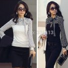 Fashion OL Women Ladies Stripe Lantern Long Sleeve Turtleneck Shirts Blouses