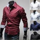 Men Casual long-sleeved  Dress shirts turn down collar slim fit fashion shirt