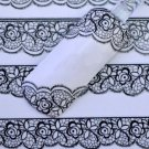 3D Black Lace Flower Design Nail Art Stickers Decals For Nail Tips Decoration