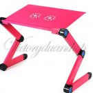 Best 360 Degree Portable Folding Metal Rose Red Laptop Computer Notebook Table Stand Desk Bed Sofa
