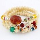 Women Multi Rosary Seed Glass Wood Bead Bracelet