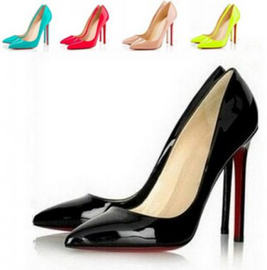 Women Pumps Sexy Red Bottom Pointed Toe High Heels Shoes Woman 2014