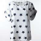Print O-Neck Tropical Chiffon Women Blouses Short Batwing Sleeve Plus
