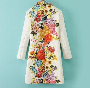 Women Elegant Trench Coat Positioning Flower Prints Jacquard Outwear