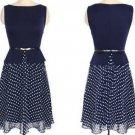 Women Desigual Elegant Belted Polka Chiffon Patch Dress