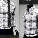 Men's Slim Fit Long-Sleeve Plaid Shirt Casual Cotton Dress Shirt