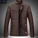 Stand collar Large Size leather clothing men's leather Jacket Coa
