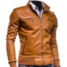 Vinatage Slim Fit Leather Jacket De Couro Masculina