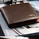 Men Genuine Leather Plaid Wallet Pocket Wallets