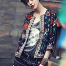 women O-neck Full Sleeve Vintage Floral Printed Jacket Blazer large size