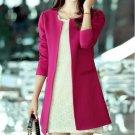 Women Long Blazer Jackets Fashion Solid Casual Large Size Coat Blazer