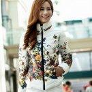Women Fashion Duck Down Jacket Floral Print Long Sleeve Zipper Blazer Jacket