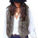Women Vest Sleeveless Coat Outerwear Long Hair Jacket Waistcoat Large Size