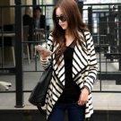 Women Long Sleeve Stripe Cardigan Blouse Jacket Coat Medium Size