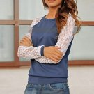 Autumn Blouse Casual Fashion Lace Crochet Patchwork Long Sleeve Shirt Tops Normal Size