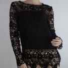 Women Lace Chiffion Blouses Gorgeous Shirts Long Sleeve Medium Size