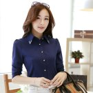 Women Long Sleeve Sequin Chiffon Ladies Office Shirt Large Size