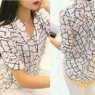 Women 3/4 Sleeve Print Chiffon Shirts Fashion Slim Blouses Shirts Medium Size