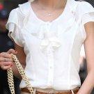 Women Casual Bow tie Short Sleeve Chiffon Blouse & Shirt Office
