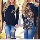 Women Leopard Chiffon blusas Loose Long Sleeve Blouse T-Shirts/ Large/Medium Sizes