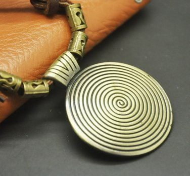 Delicate Leather Twisted Chain Necklace And Pendant